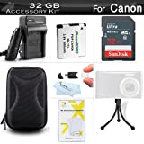 32GB Accessories Kit For Canon Powershot Elph 190 IS, ELPH 180, ELPH 170 IS, ELPH 160, ELPH 350 HS, ELPH 360 HS Digital Camera Includes 32GB High Speed Memory Card + Replacement NB-11L Battery + Charger + Case + More