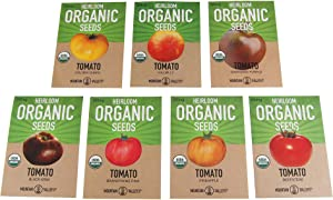 7 Varieties Non-GMO Organic Slicing Heirloom Tomato Seeds - Beefsteak Tomato, Black Krim Tomato Seeds, Golden Queen, Cherokee Purple Seeds, Brandywine Pink Tomato Seeds, Pineapple Heirloom, Hillbilly