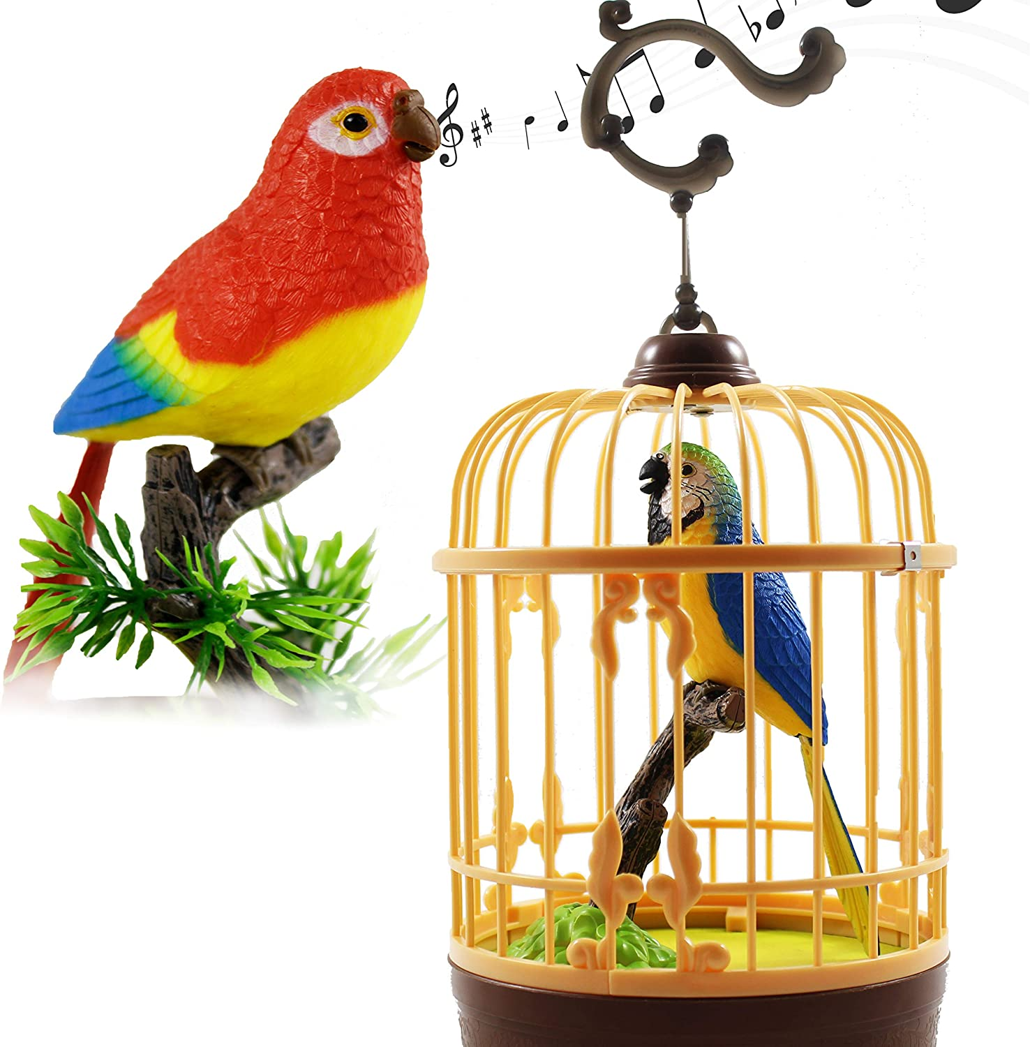 Haktoys Singing & Chirping Bird in a Cage, Moving Beak and Tail | Sound Activated and Battery Operated Realistic Parakeet on a Tree Branch - Colors May Vary | Great Desk and Room Accessory