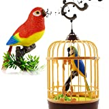 Haktoys Singing & Chirping Toy Bird in a Cage, Moving Beak and Tail | Sound Activated and Battery Operated Realistic Parakeet on a Tree Branch - Colors May Vary | Great Desk and Room Accessory