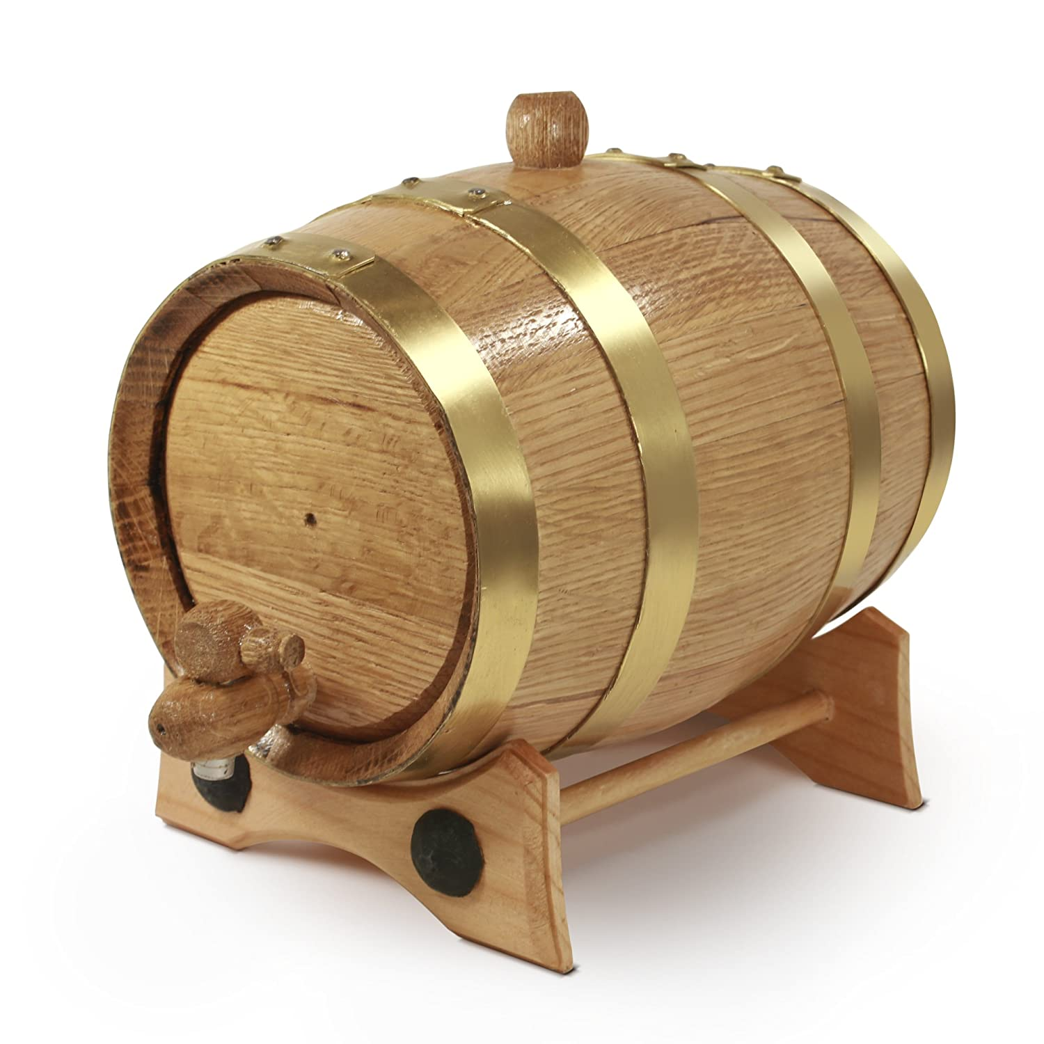 2 Liter Golden Oak Barrel - Brass Hoops | 30 page Aging Guide | Vinyl Barrel Decals | Paper Funnel | No Leaks Guarantee by Golden Oak Barrel B01HMXFMXC 2 Liter|ブラス ブラス 2 Liter