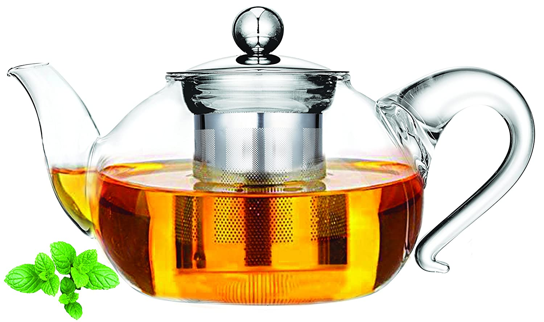 Cuisinox Miranda Glass Tea Pot Clear;Silver;Black