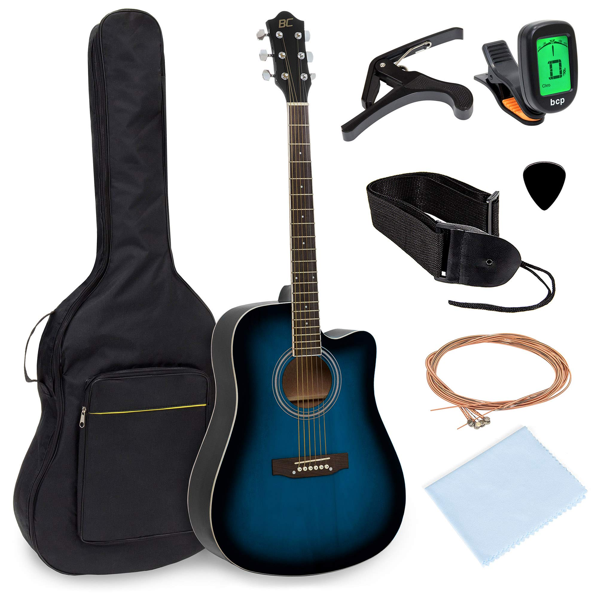 Best Choice Products 41in Full Size Beginner Acoustic Cutaway Guitar Set w/Case, Strap, Capo, Strings, Tuner - Blue by Best Choice Products