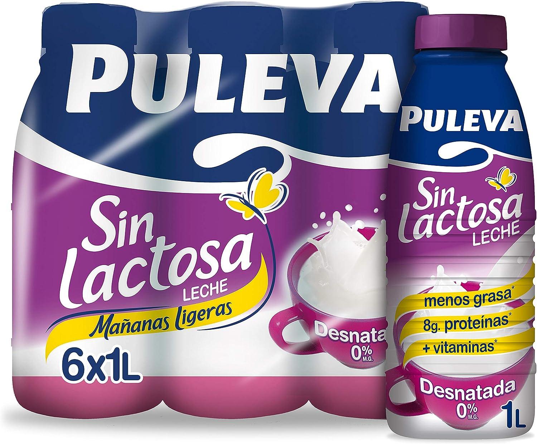 Puleva Leche Mañanas Ligeras Desnatada sin Lactosa, 6 x 1L ...
