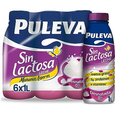 Puleva Leche Mañanas Ligeras Desnatada Sin lactosa - Pack 6 x 1 L - Total: 6 L