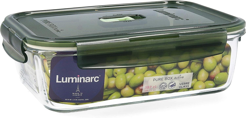 Luminarc Pure Box Active R/écipient herm/étique rectangulaire en verre Vert olive 197 cl