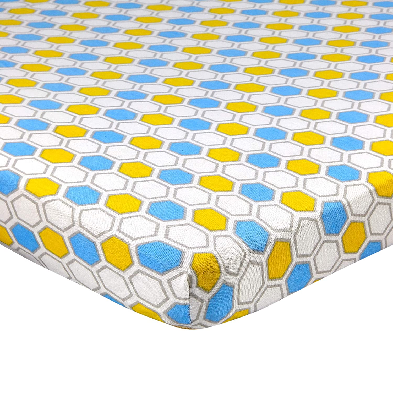"""Abstract Fitted Crib Sheet for Mini and Portable Cribs - 24"""" x 38"""" - Ultra Soft, 100% Jersey Knit Cotton - Hypoallergenic Nursery Bedding - Honeycomb Blue"""