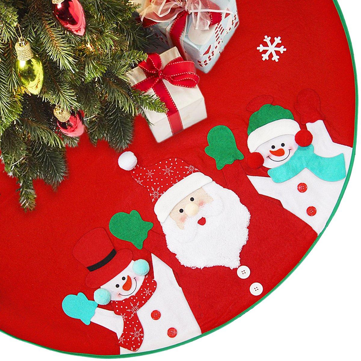 LimBridge 40'' Rustic Red Felt Christmas Tree Skirt with Stitched Santa Claus & Snowman 3D Plush Details Xmas Holiday Decoration