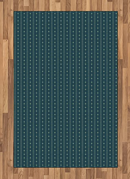 Amazoncom Ambesonne Teal And Yellow Area Rug Pattern With