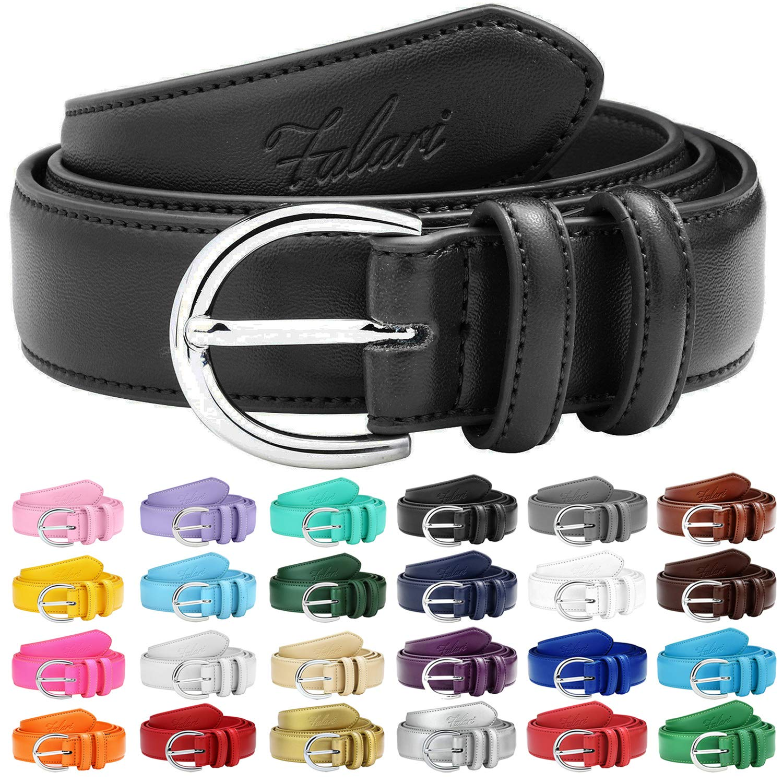 Falari Women Genuine Leather Belt Fashion Dress Belt With Single Prong Buckle 6028-Black-L