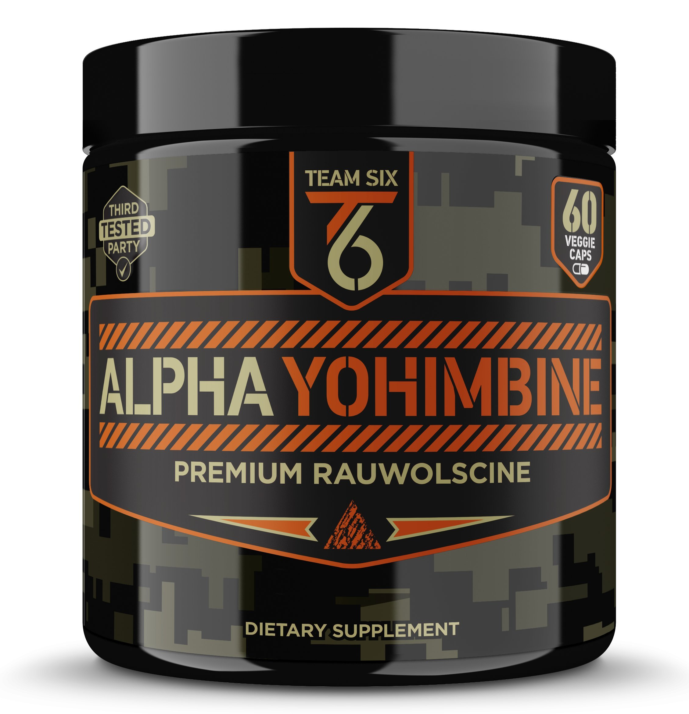 Team Six Supplements Alpha Yohimbine - Proven Yohimbe Bark Fat Burner, Weight Loss Pills That Work Fast - 3rd Party Tested for Purity and Potency, 60 veggie capsules by Team Six Supplements