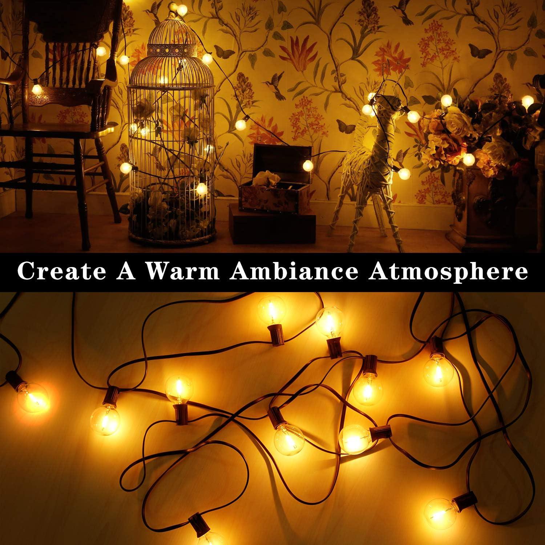 [50 LED Version] Lichterkette Außen 16.6 meter 50+2 Glühbirnen,OxyLED G40 LED Garten Lichterkette Terrasse außerhalb Lichterkette,Wasserdichte Innen/Außen Lichterketten für Party,Hochzeit,Weihnachten G40