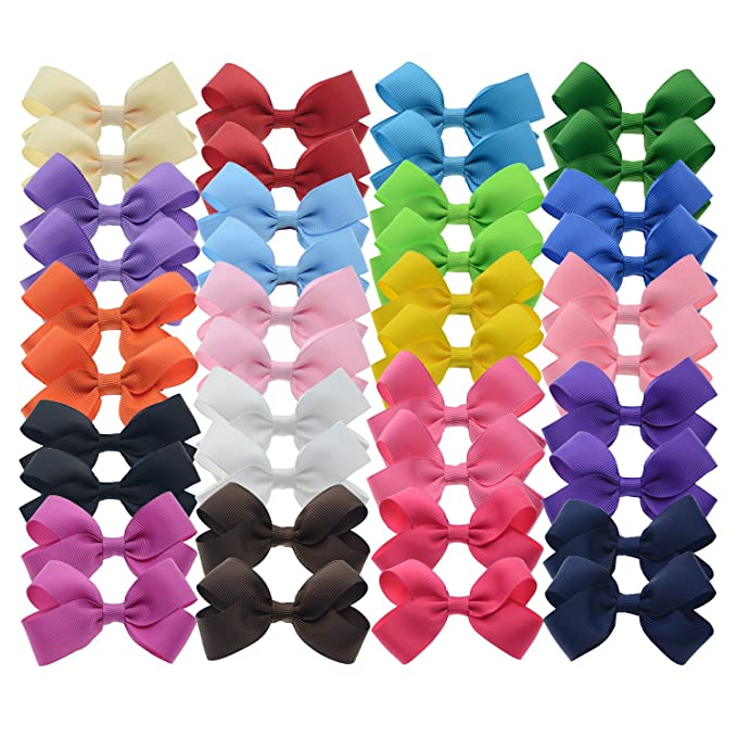 40pcs Toddler Girls Ribbon Bows for Hair (3 Inch bow bulk)