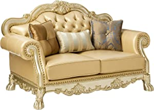 ACME Dresden Gold Patina Loveseat with 3 Pillows