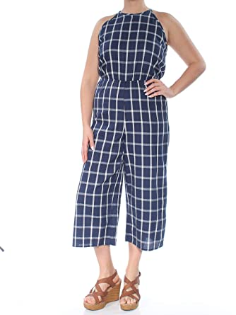 76692a5b0c2 Amazon.com: Maison Jules Womens Window Pane Tie Neck Jumpsuit: Clothing