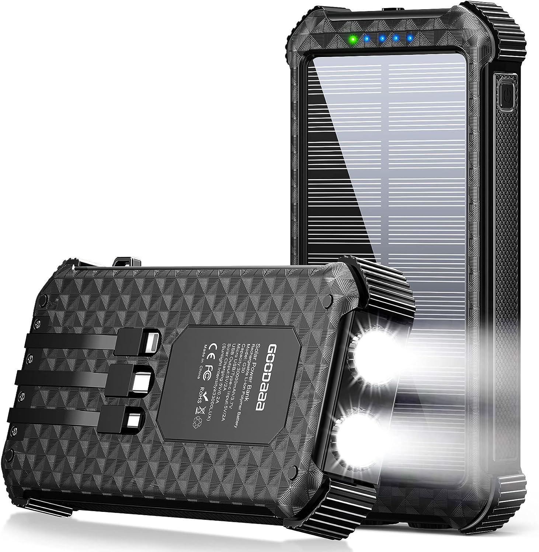 Solar Power Bank,30000mAh Portable Phone Charger Bank with Black