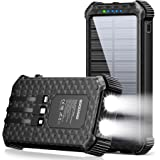 Solar Power Bank,30000mAh Portable Solar Phone Charger Power Bank with 3 Cables & LED Flashlights,Solar Charger Power Bank Fa