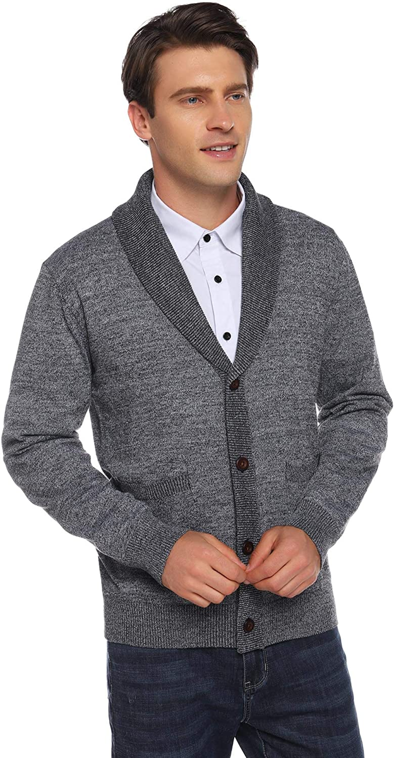 iClosam Mens Cardigan Lightweight Knitwear Button V-Neck Slim Fit Knitted Xmas Cardigans Sweater with Front Pockets