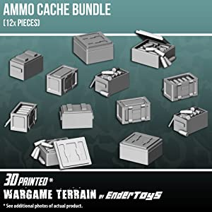 Ammo Box Bundle, Terrain Scenery for Tabletop 28mm Miniatures Wargame, 3D Printed and Paintable, EnderToys
