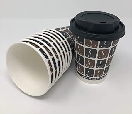 50 x Disposable Paper Coffee Cups and Lids. 8 oz, 12 0z, or 16 0z. (8 oz)