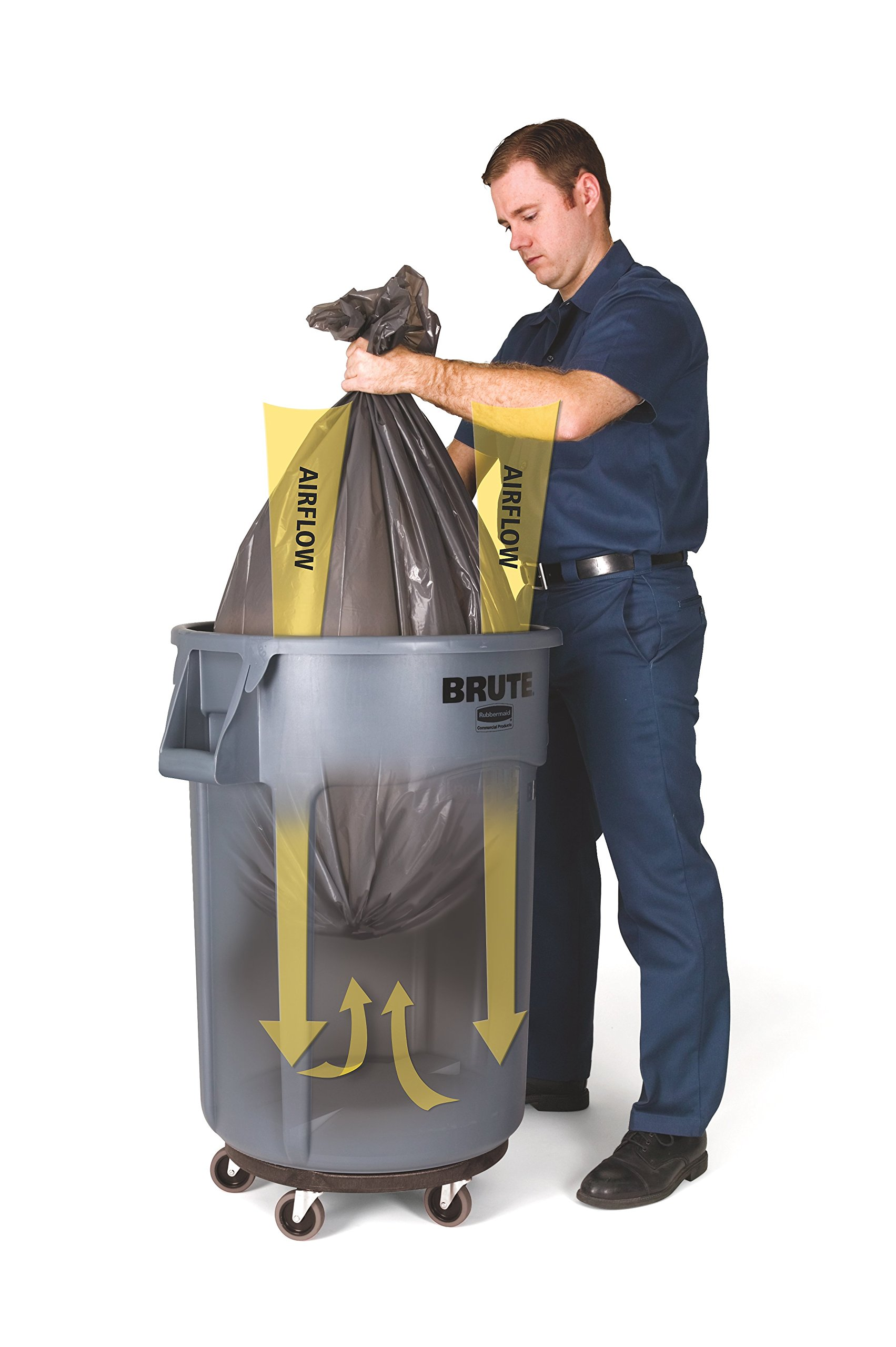 Rubbermaid Commercial Products FG263200GRAY BRUTE Heavy-Duty Round Trash/Garbage Can, 32-Gallon, Gray by Rubbermaid Commercial Products (Image #8)