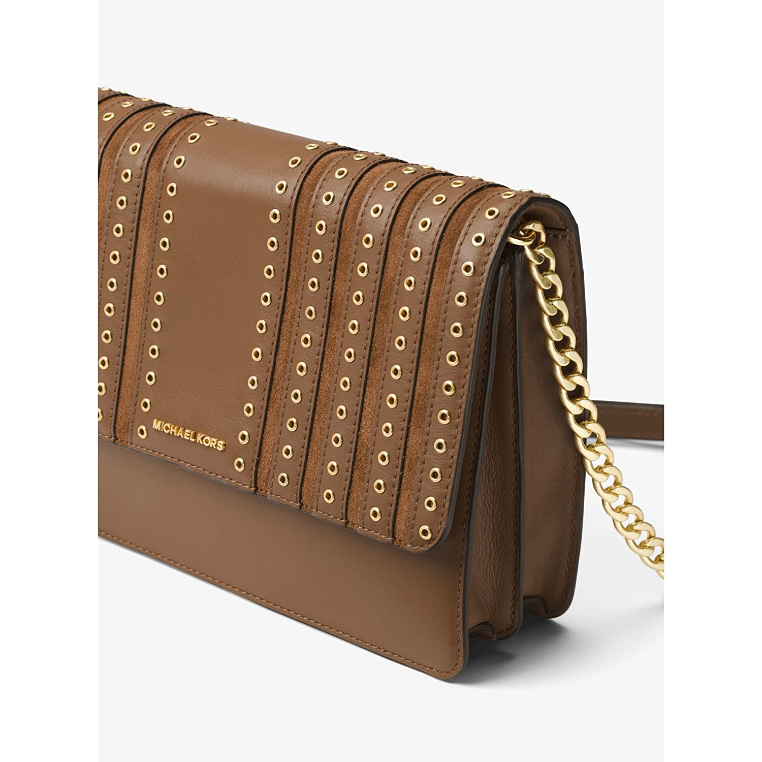 a52d3bd3b317ed Michael Kors Brooklyn Large Grommet Suede and Leather Crossbody in Caramel:  Handbags: Amazon.com