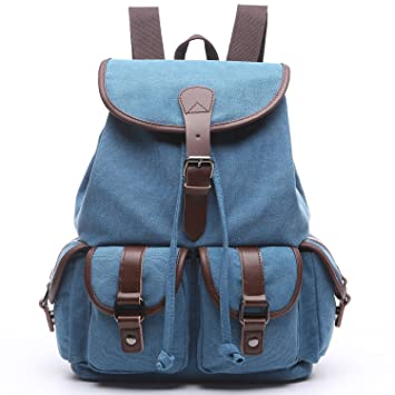 f7ff8dd749 Image Unavailable. Image not available for. Color  Women Canvas Backpack  Purse Vintage Travel Rucksack for Teen Girls ...