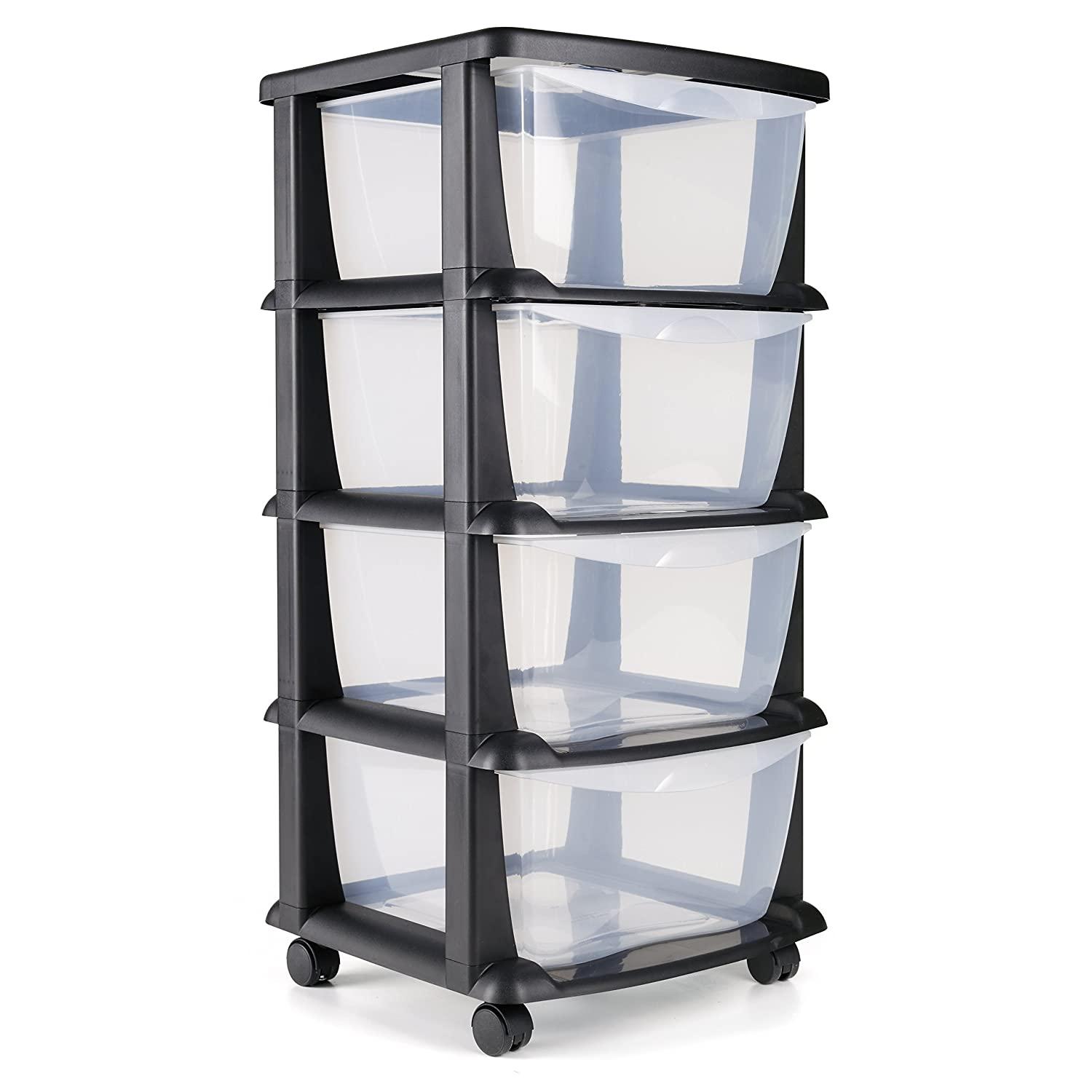 Made in Europe Maxi Nature Kitchenware Plastic Storage Drawers on wheels cabinet containers large unit cabinet 4 drawers