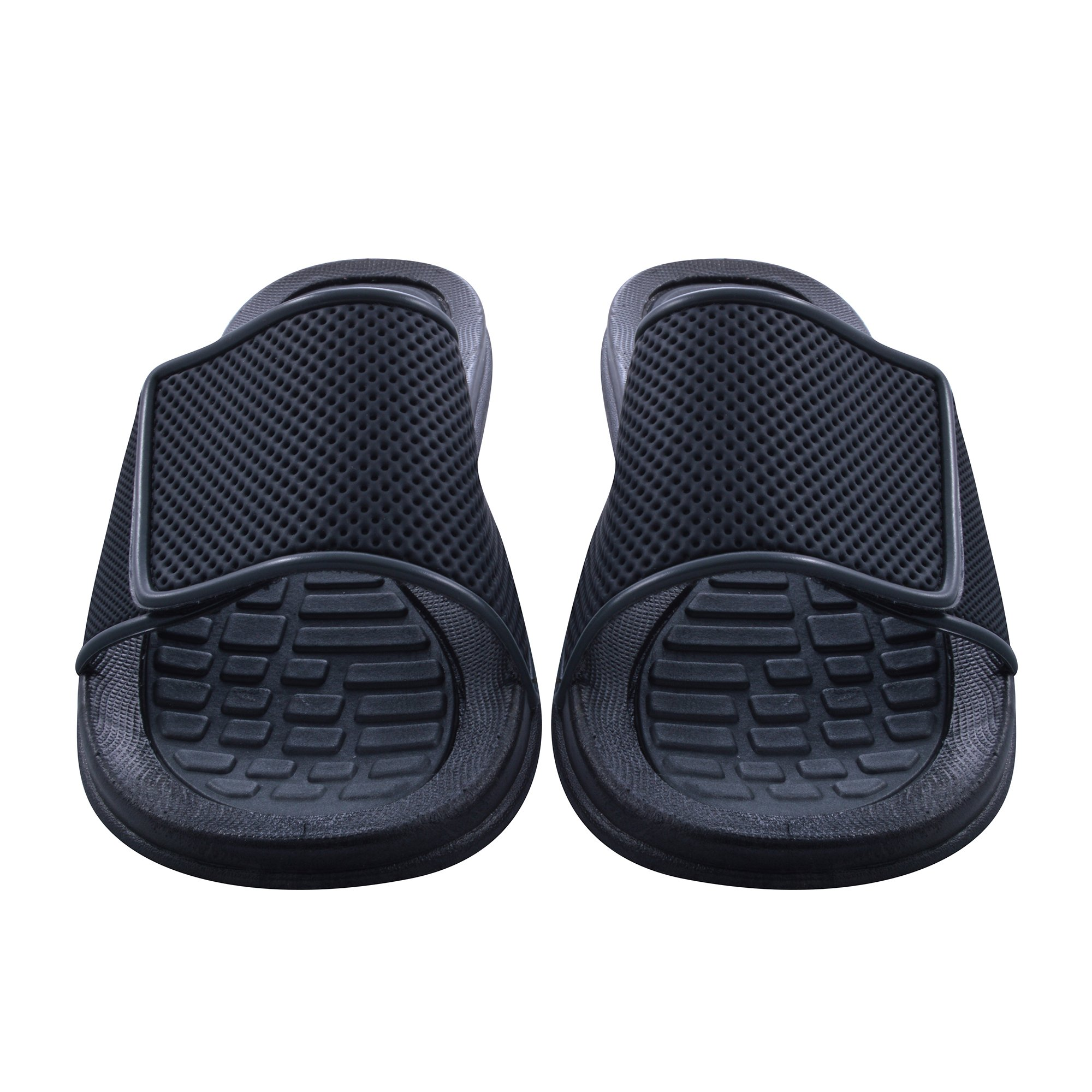 Sky Sole Mens Slide Sandals with Velcro Strap in Gray Trim, Size 9