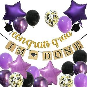 Purple Graduation Decorations – 2021 Lavender Grad Party Balloons Supplies with Black Gold Congrats Banner Decor (Black + Lavender + Purple)