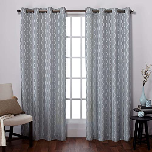 Exclusive Home Baroque Textured Linen Look Jacquard Grommet Top Curtain Panel Pair, Ice Blue, 54×84