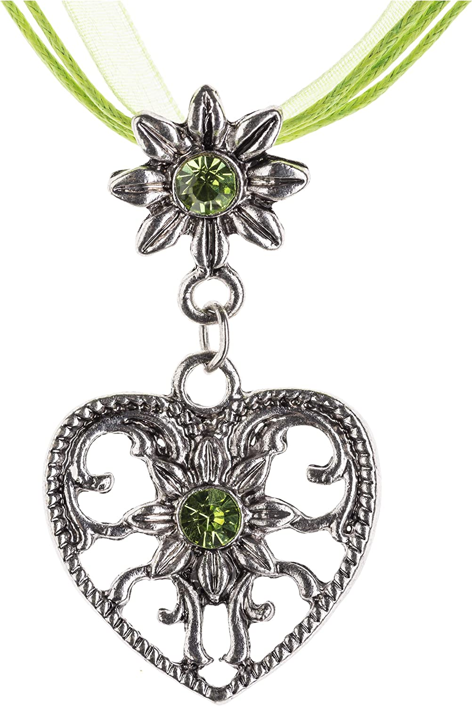 Tracht Cadena Corazón & Edelweiss con brillante diamantes–Trachten Cadena joyas en colores DIV–perfecto para tirolesa, piel Pantalones y traje tradicional blusa
