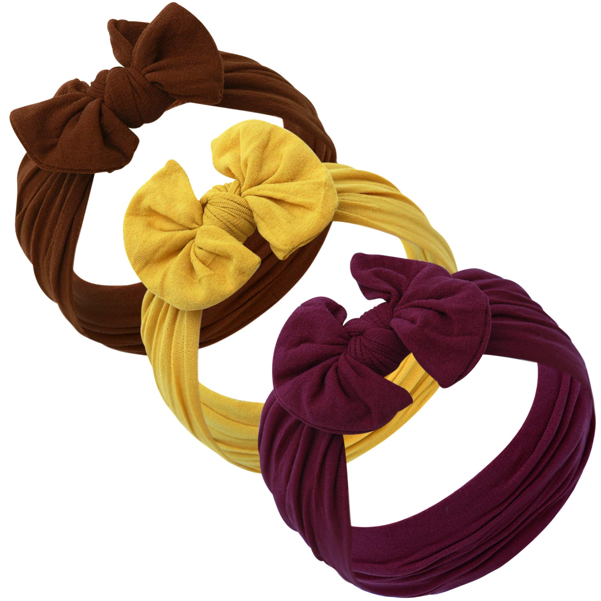 Baby Girl Headbands and bows - Nylon Headband Fits newborns toddlers infants girls Fall colors Mustard Burgundy Brown by JLIKA