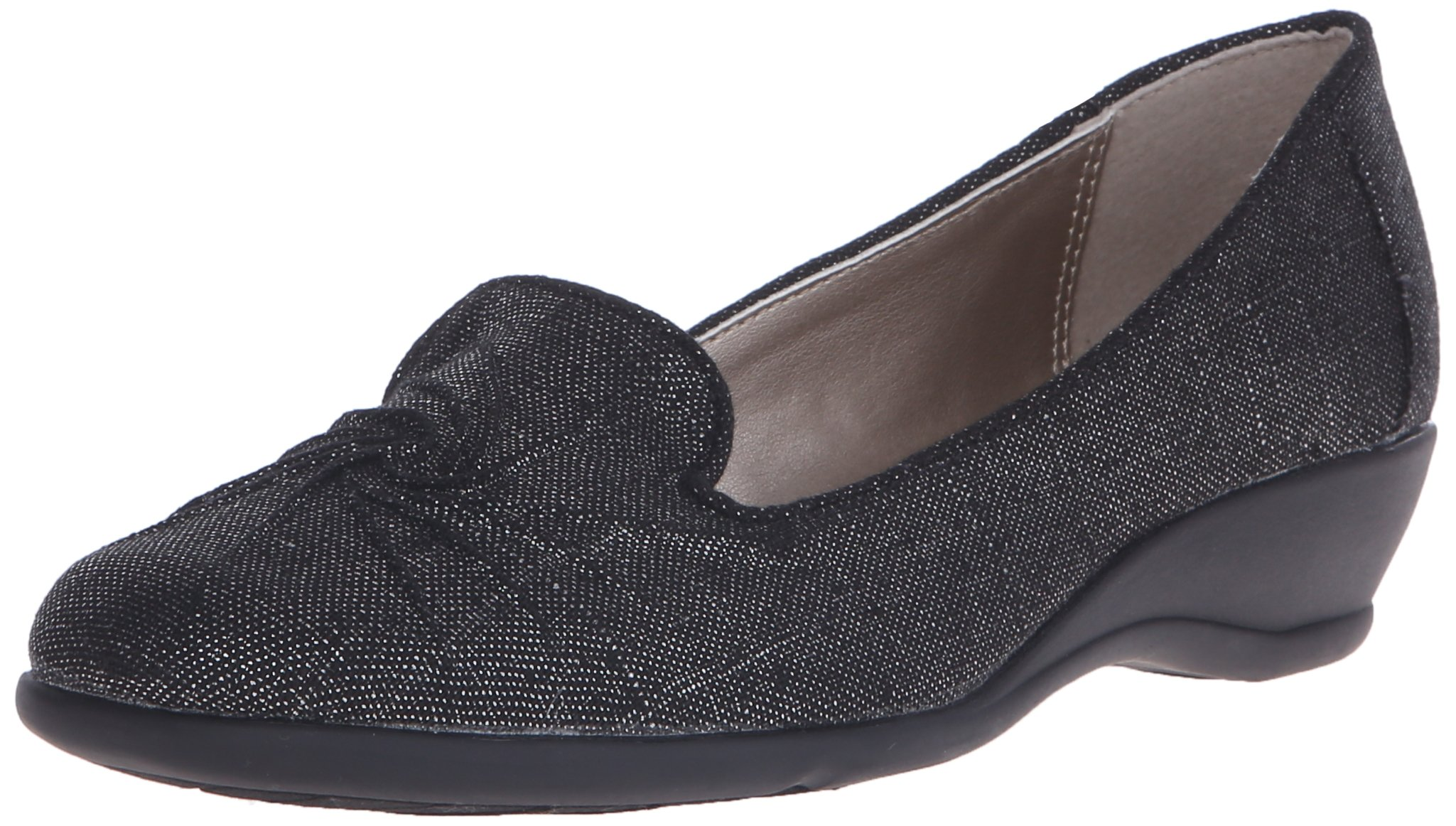Soft Style by Hush Puppies Women's Rory Flat, Black Sparkle Linen, 7 N US