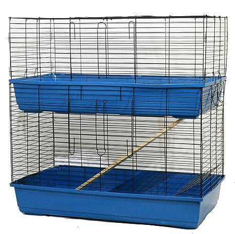 Jaula de 2 pisos para conejos y cobayas, uso en interiores: Amazon ...
