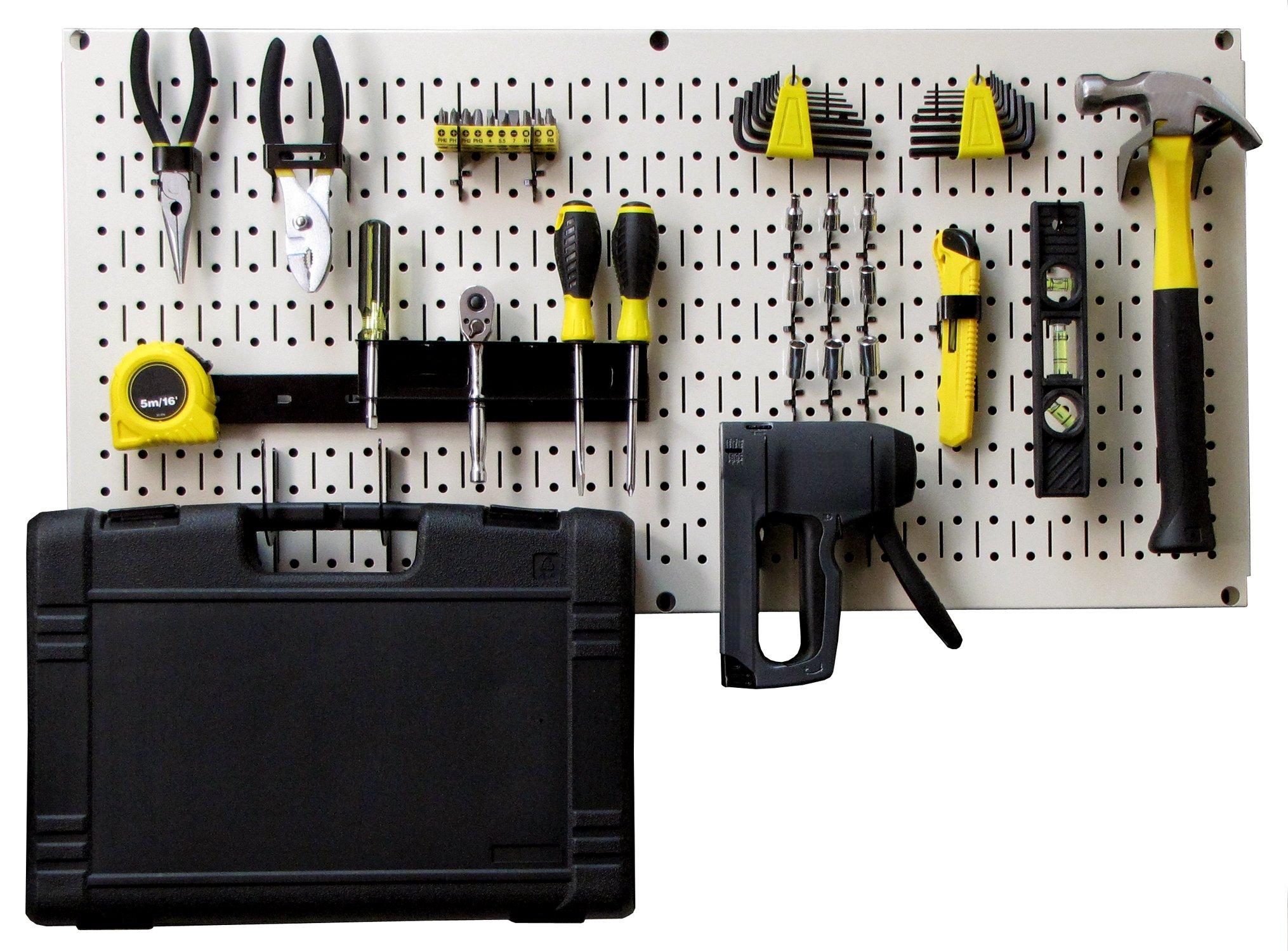 Wall Control Modular Pegboard Tool Organizer System - Wall-Mounted Metal Peg Board Tool Storage Unit for Pegboard Tiling (Beige Pegboard)