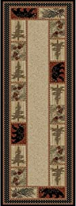 """American Destination Lodge Cades Cove Black Bear Multi Area Rug 2'3""""x7'7"""" Color Nature Cabin Rectangle Polypropylene Contains Latex Stain Resistant"""