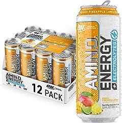 Optimum Nutrition Amino Energy + Electrolytes Sparkling Hydration Drink - Pre Workout, BCAA, Keto Friendly, Energy Drink - Ma