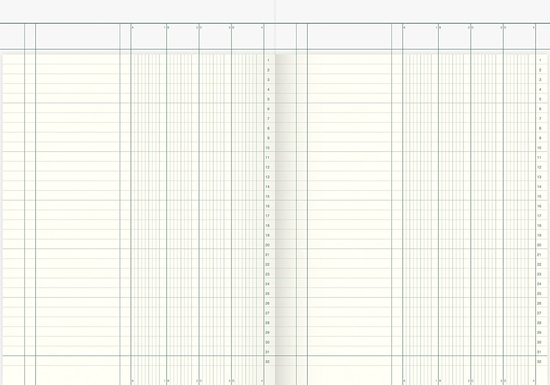 K/önig /& Ebhardt 8611043//Column Account Book A4/with Header 4/Columns, 32/Lines, 80g//m/², 144/Blatt Thread Binding with Page Count