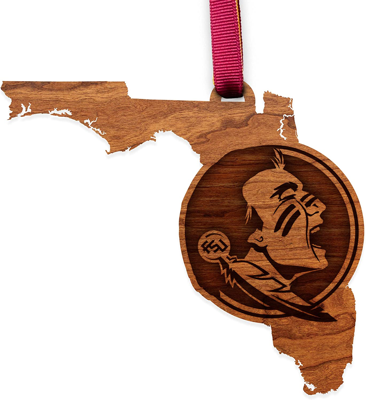 Florida State Seminoles - State Map with Seminole LazerEdge NCAA Wooden Ornament