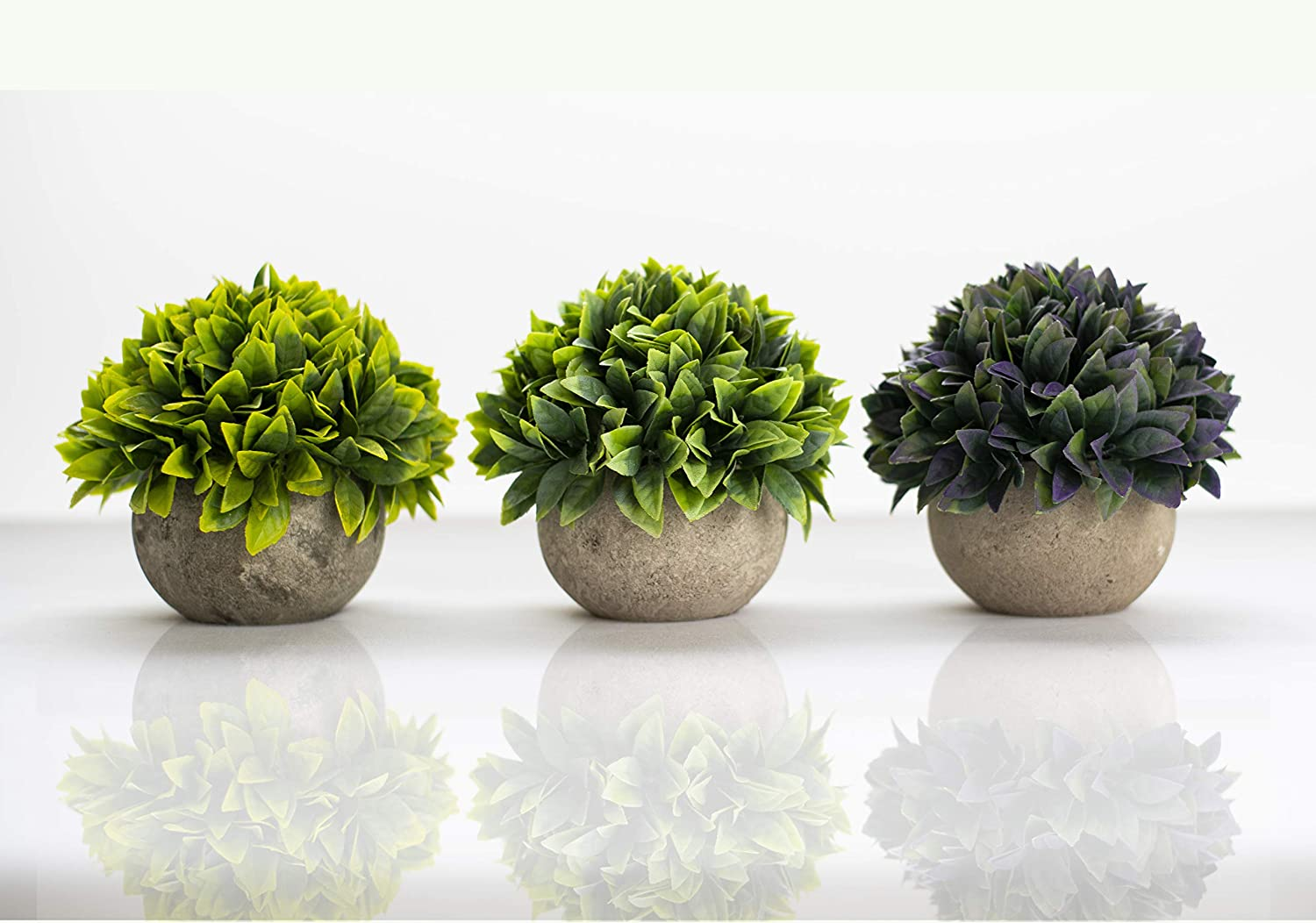 Artificial Mini Fake Plants | for Home, House, Bathroom, Bedroom, Shelf, Mantle, Office Decoration | Decorative Small Faux Green Plastic Plant Decor, Comes with Cement-Like Grey Pot for Rustic Look
