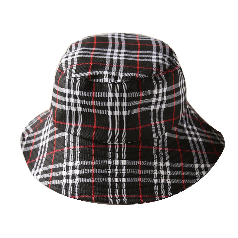 ChezAbbey Flat Top Breathable Bucket Hats Wear Sun Protection Plaid  Fisherman Caps Black at Amazon Women s Clothing store  a30e34888b5