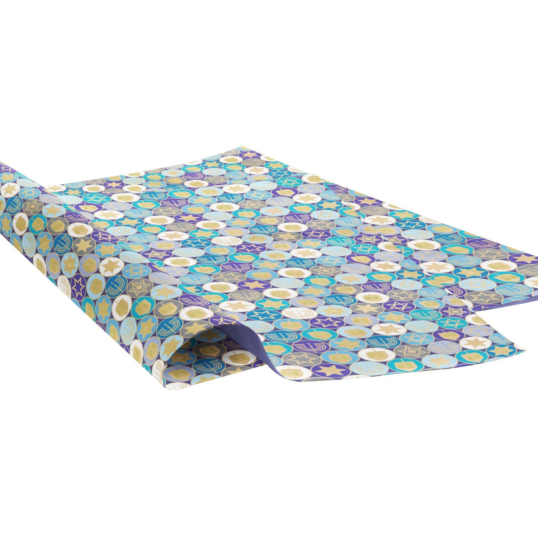 "Jillson Roberts 240 Unfolded 20"" x 30"" Sheets Bulk Hanukkah Printed Tissue Paper, Hanukkah Gelt BXPT789"