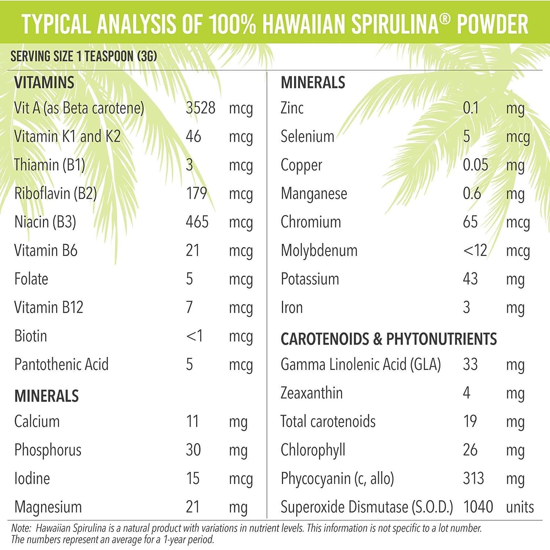 Pure Hawaiian Spirulina Powder 16 Ounce  Natural Premium Spirulina from Hawaii  Vegan NonGMO
