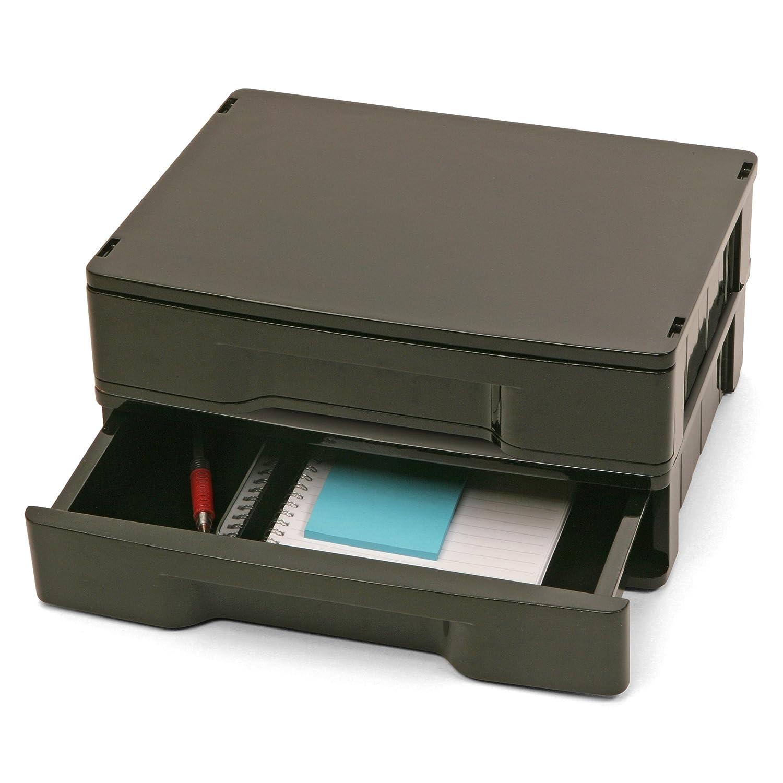 Officemate Recycling Schubladen, 2 Pack, Schwarz (26097)