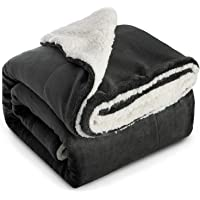 Bedsure Charcoal Black Throw Blankets Sherpa Fleece Blanket - Fluffy Blanket Plush Throws Fuzzy Soft Blanket for Bed…