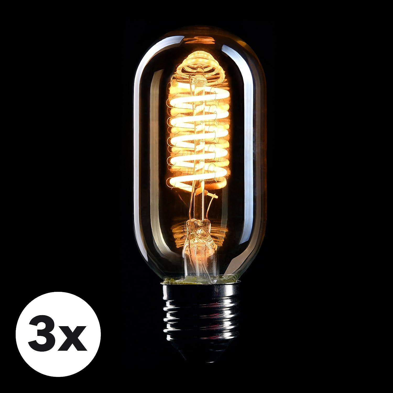 CROWN LED 3 x Edison Glühbirne E27 Fassung, Dimmbar, 4W, Warmweiß ...