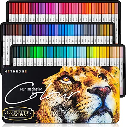 Hethrone 72 Coloring Pens Dual Brush Pens Felt Tip Pens Art Markers for Adult and Kids Coloring Books Calligraphy Drawing Note Taking