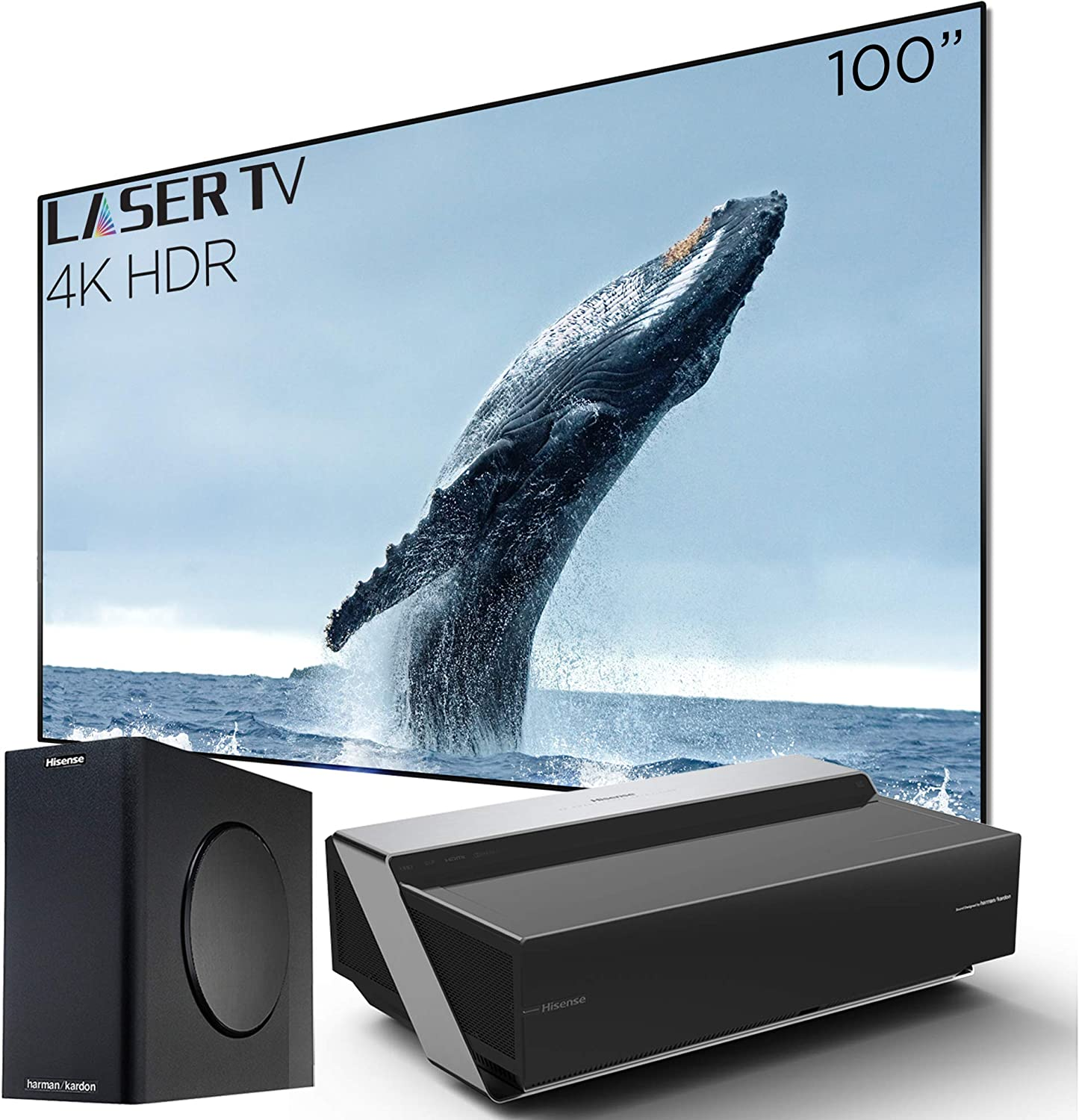 Hisense 100L10E Ultra Short Throw 4K UHD Smart HDR Home Theater Projector Laser TV with 100 Ambient Light Rejection Screen, Harman Kardon Sound ...