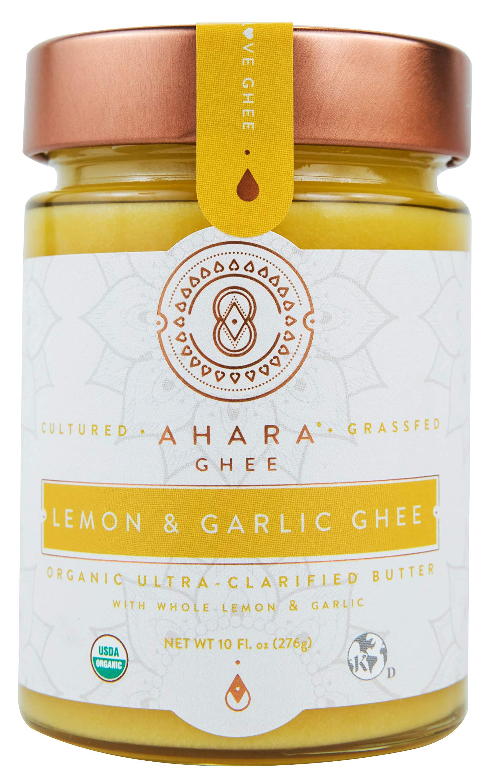 Ahara Rasa Lemon Garlic Organic Ghee 10oz, 100% Pure Grass Fed